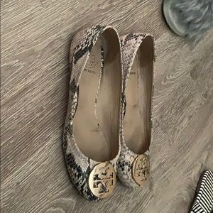 Snakeskin Minnie flats Tory Burch